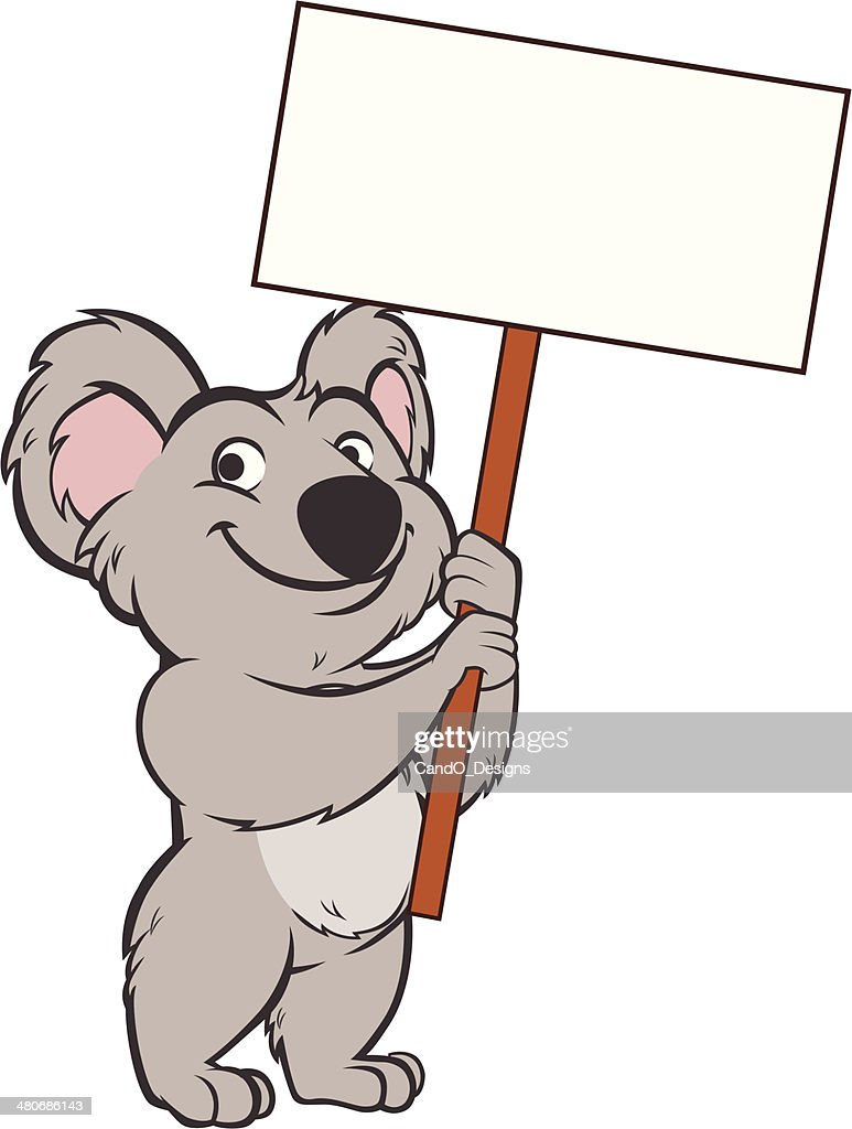koala bear holding sign vector art getty images
