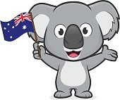 Clipart picture of a koala cartoon character holding australian flag