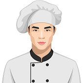 Illustrationen visar en man som arbetar som kock