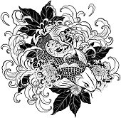 Koi fish and chrysanthemum tattoo by hand drawing.Tattoo art highly detailed in line art style.