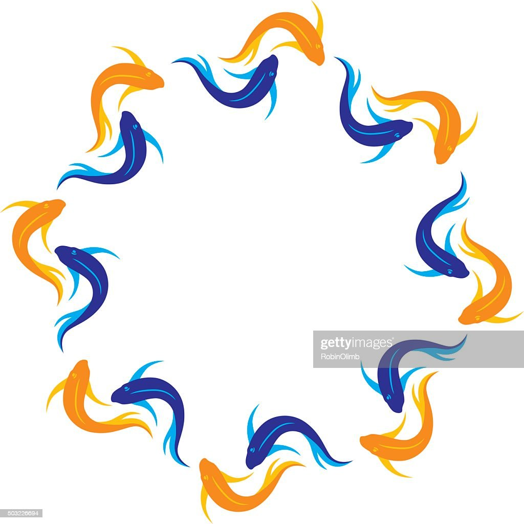 Koi fish frame vector art getty images for Koi fish vector