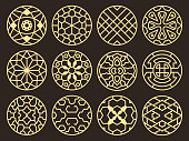 Korean and chinese traditional vector ancient buddhist patterns, ornaments and symbols. Asian round element pattern tattoo, illustration of symbolic frame