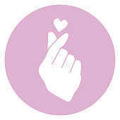 Cute finger heart gesture icon isolated on white background and part of K-Pop icon collection