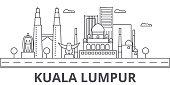 Kuala Lumpur Malaysia architecture line skyline illustration. Linear vector cityscape with famous landmarks, city sights, design icons. Editable strokes