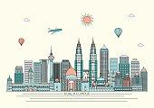 skyline. Vector line illustration. Line style designKuala Lumpur skyline. Vector line illustration. Line style design