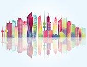 Dubai skyline. Vector illustrationKuwait skyline. Vector illustration