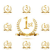 Anniversary golden symbol set. Golden laurel wreaths with ribbons and anniversary year symbols on white background. Vector anniversary design element.