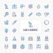 Science research, Laboratory experiments and equipments - thin line website, application & presentation icon. simple and minimal vector icon and illustration collection.