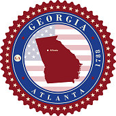Label sticker cards of State Georgia USA. Stylized badge with the name of the State, year of creation, the contour maps and the names abbreviations.