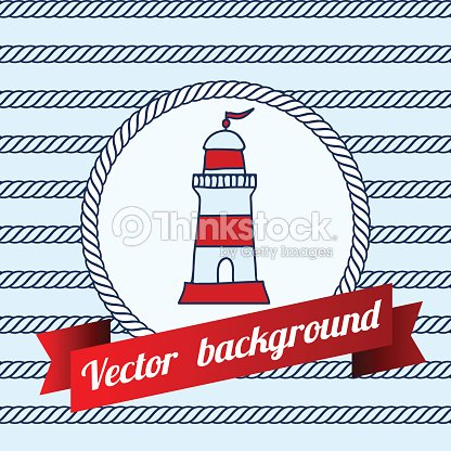 Label With Maritime Symbol On Blue Color Background Vector Art