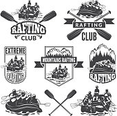 Labels for sport club of extreme dangerous water sport. Vector pictures of rafting sport water, canoe in river rafting extreme illustration