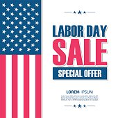 Labor Day sale banner. United States holiday special offer background for business, commerce and advertising. Vector illustration.