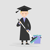 Labor market crisis: a university graduate   forced to work at the low-skilled job. Unemployment. Post-graduation problems. Young character wearing an academic robe and hat and moping the floor