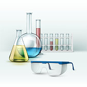 Vector set of transparent glass chemical laboratory test tubes, flasks with blue, pink, yellow, green liquid and Glasses Isolated on Background