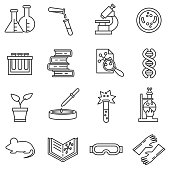 Laboratory icons set. Chemical experiments collection. Thin line design