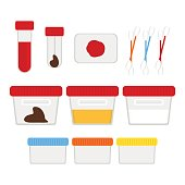 Laboratory tests and accessories set. Vector illustration, flat design