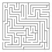 Labyrinth. Maze. Entrance and exit. Find the way. Black and white vector illustration.