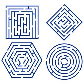 Labyrinth Set Different Shapes for Game, Books, Leisure. Vector illustration