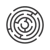 Labyrinth Thin Line Vector Icon. Flat icon isolated on the white background. Editable EPS file. Vector illustration.