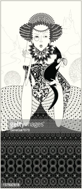 Lace Monochrome Queen With A Black Cat Vector Art Thinkstock