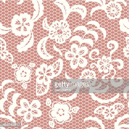 Lace seamless pattern with flowers : Vector Art