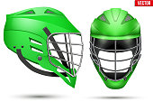 Green Lacrosse Helmet. Front and Side View. Sport goods and equipment. Vector Illustration isolated on white background.