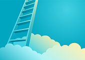 Ladder to appearing from clouds, ladder to success concept