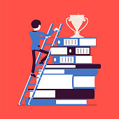 Ladder to success. Businessman in move to reach top, accomplishment of business aim, positive results of career purpose, impressive prize for work or study. Vector illustration, faceless characters