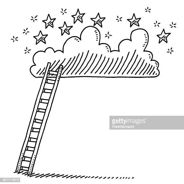 Ladder Up To A Cloud With Stars Drawing