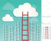 Red ladders to the clouds, idea competition concept illustration with elements set.