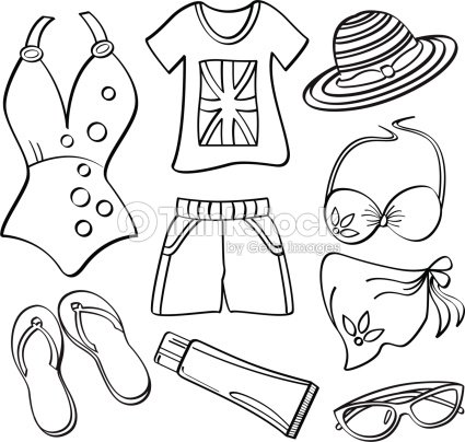 Ladies Clothing And Accessories Vector Art