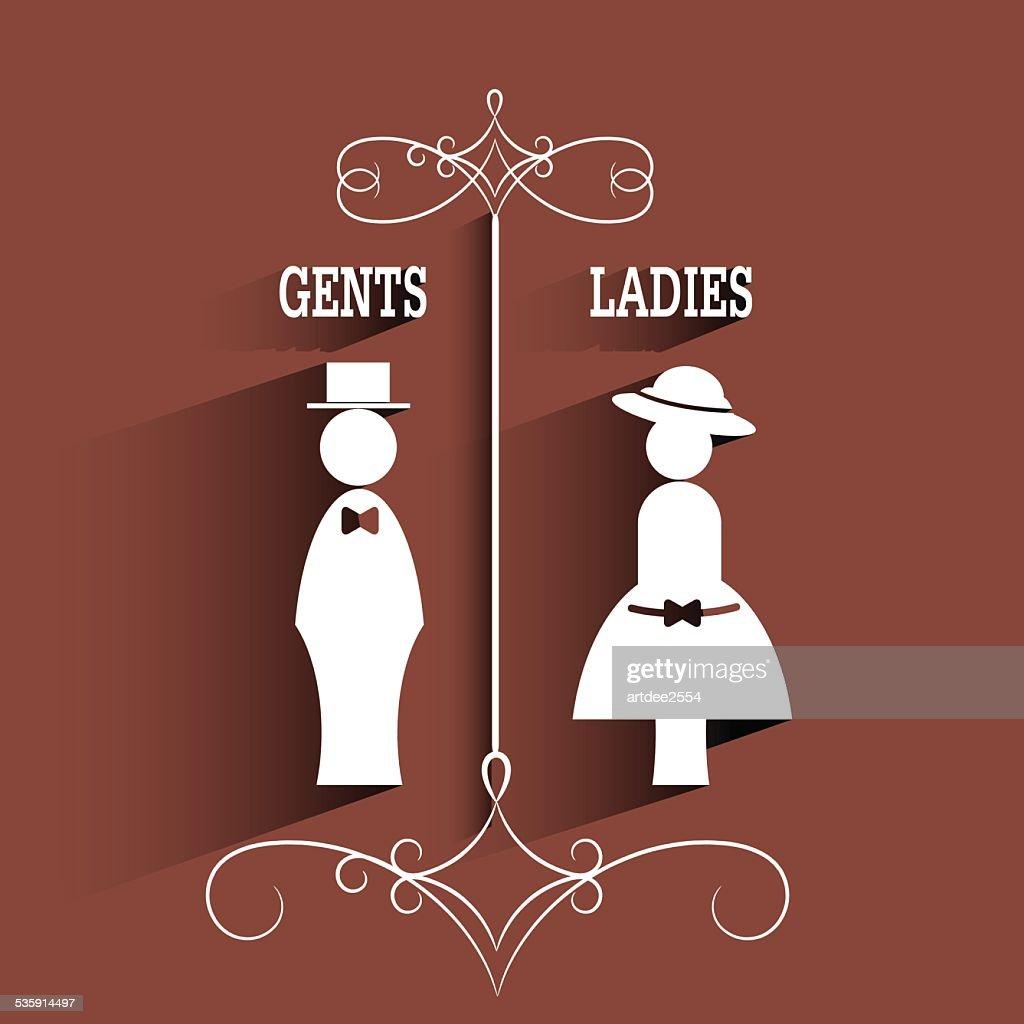 lady and gentleman señal con larga sombra : Arte vectorial