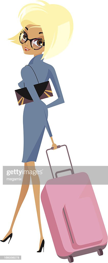 Lady with luggage. : Vector Art
