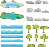 Lake, a set of stones, trees, a set of seascapes, a wave. Flat design, vector illustration, vector.