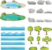 Lake, a set of stones, trees, a set of seascapes, a wave. Flat design, vector illustration, vector.