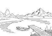 Lake bridge graphic black white landscape sketch illustration vector