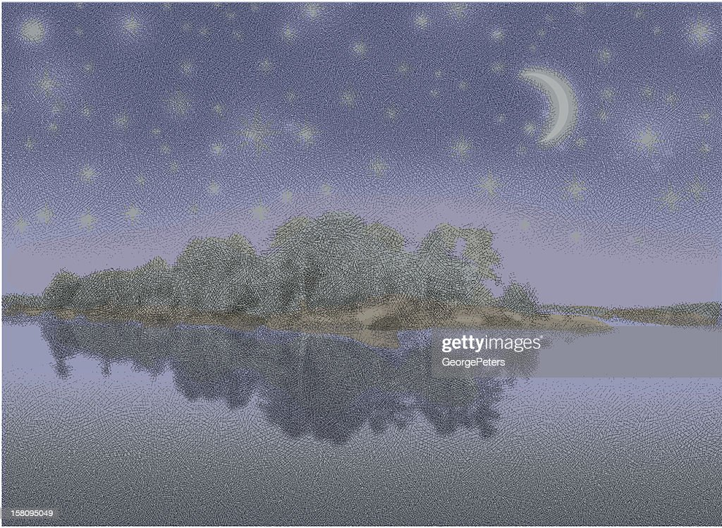 Lake, Island and Starry Night : Vektorgrafik