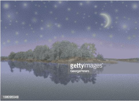Lake, Island and Starry Night : Vector Art