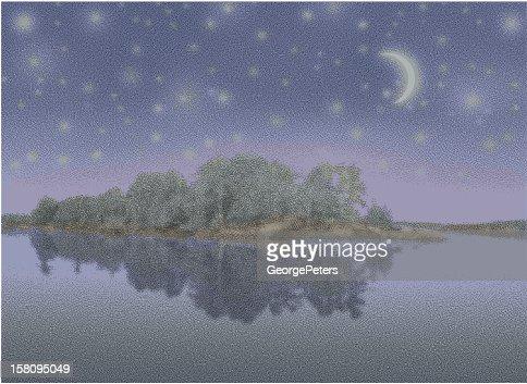湖、島や星空の夜 : ベクトルアート