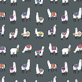 lama animal vector color hand drawn pattern