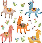Lamas vector card with characters