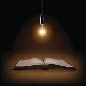 Lamp and opened book on dark background. Vector illustration.