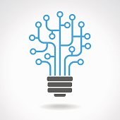 Light bulb idea icon with circuit board inside. Business idea concept. Lamp formed by chip connectors. The file is saved in the version AI10 EPS.