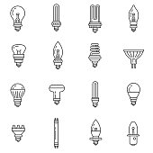 Lamps and spotlights icons set. Incandescent lamp of different form, thin line design. Line with editable stroke