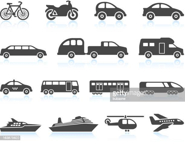 Land Air and water Transportation vehicles icon set