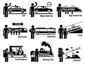 Vector set of land public transportation that includes taxi, mobile ride hail, high speed train, rail transit, public bus, tram, auto rickshaw, railway train, and cable car.