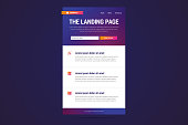 Landing page design in modern gradient style. Vector illustration.