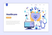 Landing page template of medicine and healthcare modern flat design concept. Learning and people concept. Conceptual flat vector illustration for web page, website and mobile website.