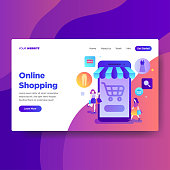 Landing page template of Online Shopping services. Modern flat design concept of web page design for website and mobile website.Vector illustration