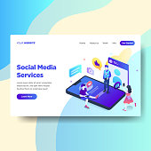 Landing page template of Social Media Services. Modern flat design concept of web page design for website and mobile website.Vector illustration